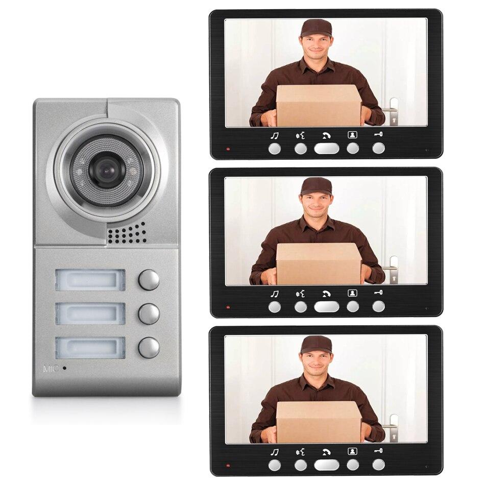 7inch Video Intercom Smart Doorbell Door Phone 3 Button Metal Camera 3 Apartments Door Bell