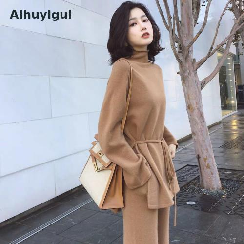 Aihuyigui 2019 Autumn Winter Fashion Set Women Cashmere High-necked Knitwear Wide-leg Pants Sweater Two-piece Suit Mujer Dr653