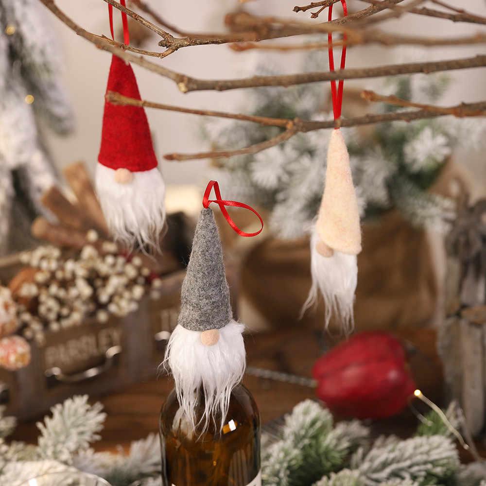 2019 Merry Christmas Santa Claus Hadiah Botol Anggur Topi Dekorasi Tahun Baru Boneka Botol untuk Rumah Enfeites De Natalcover