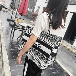 Image 5 - Women Tote Bag Striped High Quality Canvas Shoulder Bag Luxury Shopper Large Bag Bohemian National Style Handbag for Lady 2019