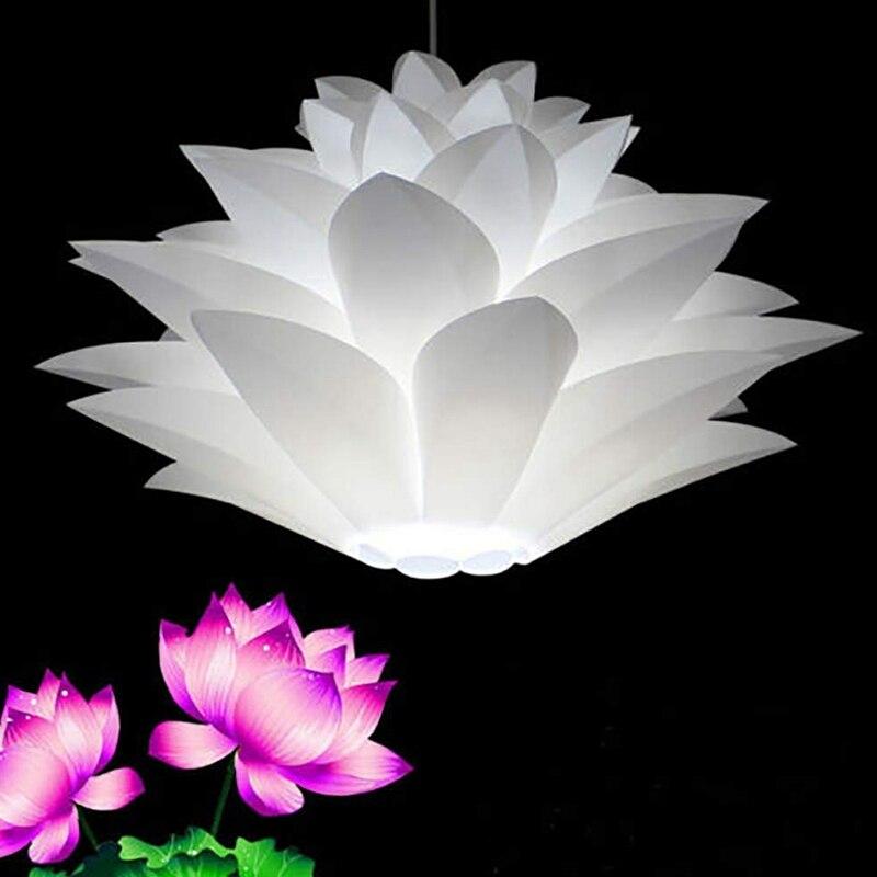 Lámpara de araña de loto DIY flor de loto seis capas lámpara sombra habitación romántica cubierta de iluminación colgante Hotel Bar Decoración 2 piezas de lámpara de papel de pantalla blanca para colgar