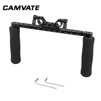 CAMVATE Sponge Handle Grips With Cross Cheese Bar & 15mm Dual Rod Clamp Adapter For DSLR Camera Shoulder Rig C2253