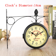 Wall-Clock Decorative Station Vintage Double-Sided Black Metal for Christmas-Gifts