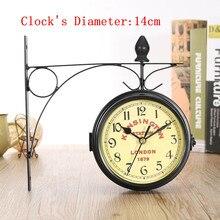 Siyah Vintage dekoratif çift taraflı Metal duvar saati istasyonu duvar saati duvar saati asılı Metal saat yılbaşı hediyeleri