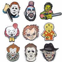 DMLSKY Kreative horror metall pin Halloween geschenke pin cartoon Jason Voorhees pin Freddy krueger mörder krawatte pins hut abzeichen M3998