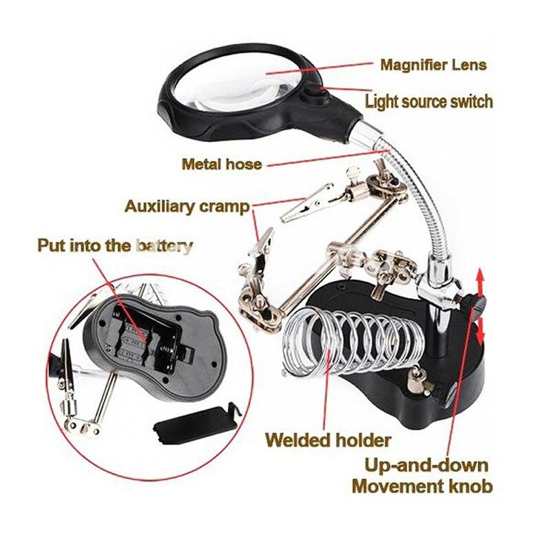 MG16126-A 3.5X 12X Helping Hand Magnifier Led com Solda Fique MG16126-A