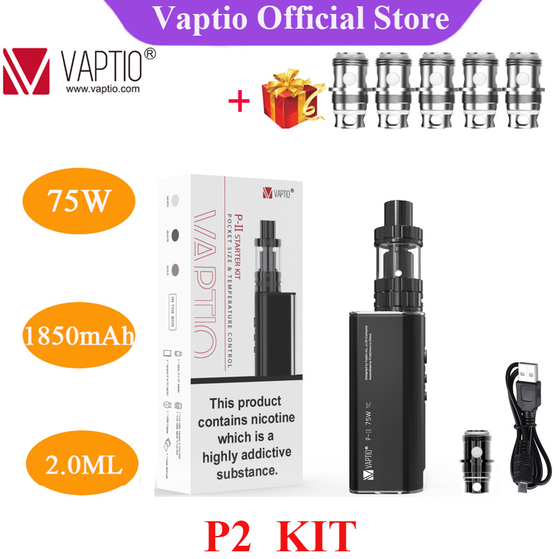 Gift 5pc Coils Vaptio P2 Vape Kit With 1850 MAh Built In Battery 2ml Tank And 510 Thread Top Filling Electronic Cigarette Kit