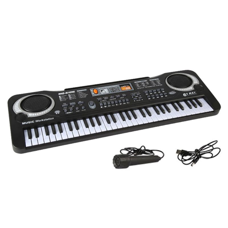 Corpo com Microfone Teclas Música Eletrônica Teclado Digital Piano 61