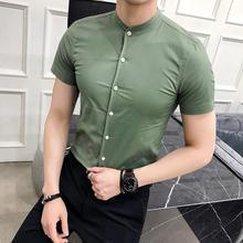 цена на Mens dress Shirts Standing collar Solid color Blouse Men Business Casual Men's Shirt Short sleeves Army Green