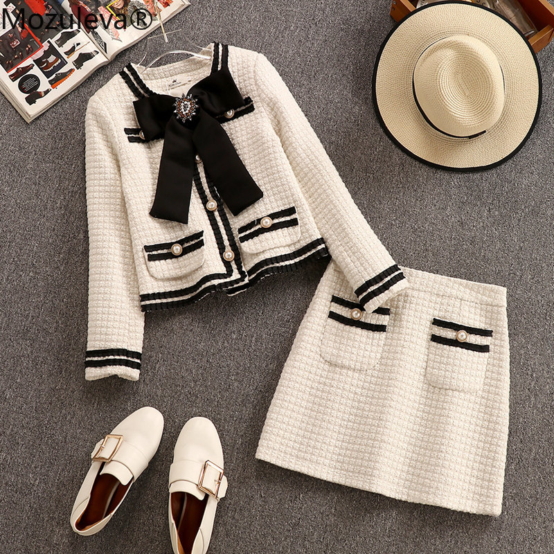 Mozuleva Autumn Winter Wool Suits Women Two Piece Set Beading Big Bowknot Tweed Short Jacket Coat + High Waist Mini Pocket Skirt