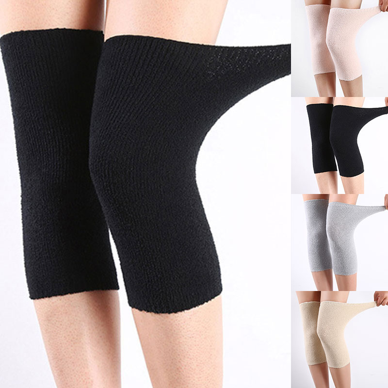 1 Pair Winter Men Women Wool Warm Knitted Kneepad Sports Knee Protector Protective Elastic Cashmere Knitted Kneepad Kneelets