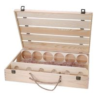 Vintage Wood Red Wine Six Bottles Packaging Storage Carrying Handle Travel Display Holder Birthday Party Christmas Gift