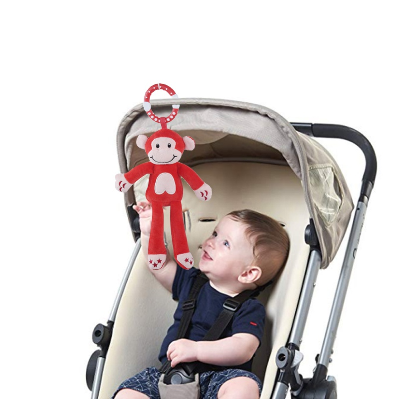 Baby Toys Hanging Rattle Crinkle Squeaky Educational Toy Infant Newborn Stroller Car Seat Crib Travel Activity Plush Animal Wind
