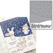 Let It Snow Snowy Pattern Metal Cutting Dies Stencils Let Is Snow Snowy Pattern Die Cut For Card Making DIY New2019 Crafts Cards