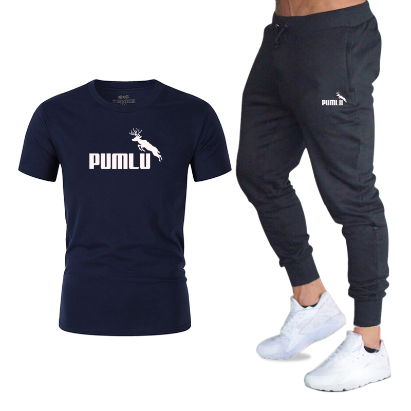 Tracksuit Male 2020 Men Clothing Sportswear Set Fitness Summer Print Men Trousers + T Shirt Men's Suit 2 Pieces Sets Quick Dry