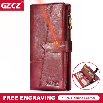 GZCZ Genuine Leather Women Clutch Wallet Female Long Coin Purse Portomonee Gift for Lady Money Card Holder Wallet Handy 2020 Hot yicheng genuine leather women wallet female coin purse walet portomonee clutch money bag lady handy card holder long for girls