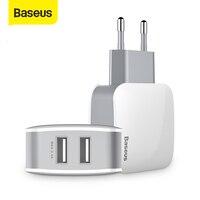 Chargeur USB Baseus 2 Ports prise ue 5V 2.4A chargeur adaptateur mural double Port USB chargeur de téléphone Portable