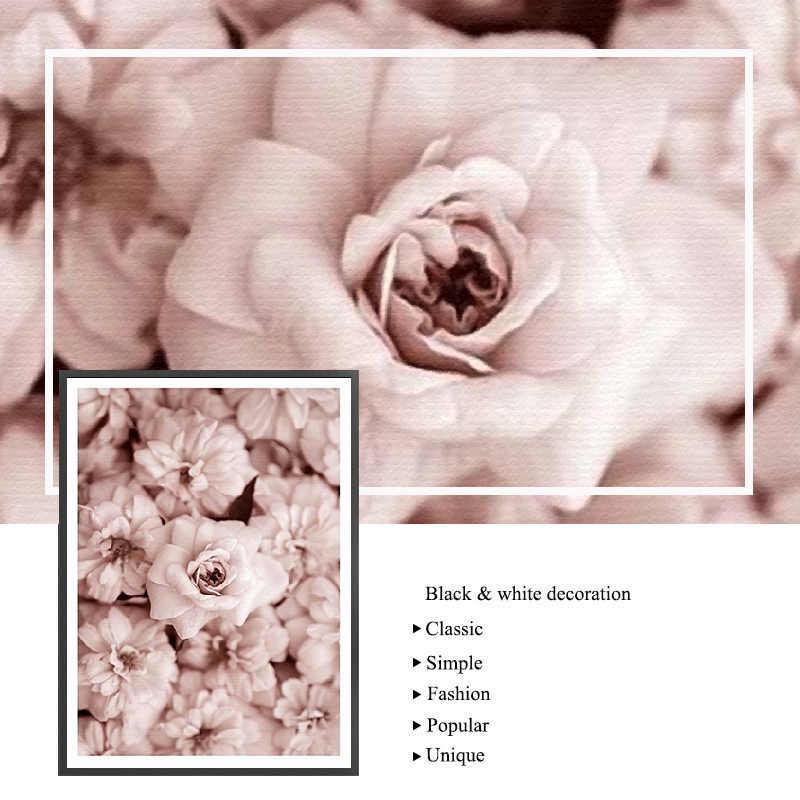 Fiori Su Tela Poster Stile Nordico Peonie Rosa Decorativa Pittura Murale di Stampa Scandinavo Decorazione Immagine Complementi Arredo Casa