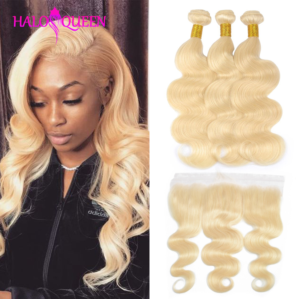 HALOQUEEN 613 Blonde Bundles With Frontal Ear To Ear Malaysia Body With Frontal Human Hair Lace Frontal Closure With Bundles