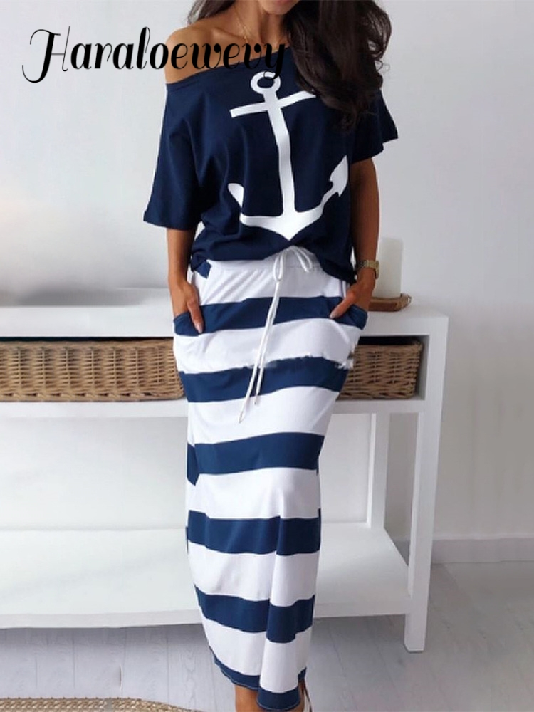 2019 Summer Two-pieces Suit Sets Ladies  Plus Size Elegant Vacation Leisure Boat Anchor Print T-Shirt & Striped Maxi Skirt Sets