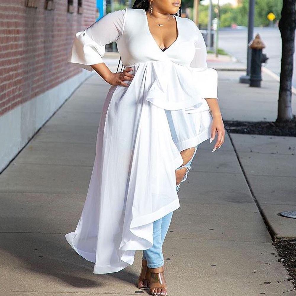 Женская блузка с оборками Falbala, белая Повседневная блузка большого размера с v-образным вырезом и высокой талией, Повседневная блуза в африканском стиле на лето 2020