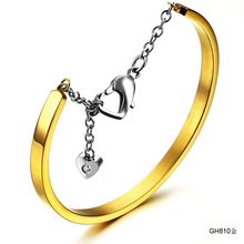 цена на Fashion Silver/Black/Gold Stainless Steel Bangle Bracelets For Women Adjustable Charm Heart Button Bangles