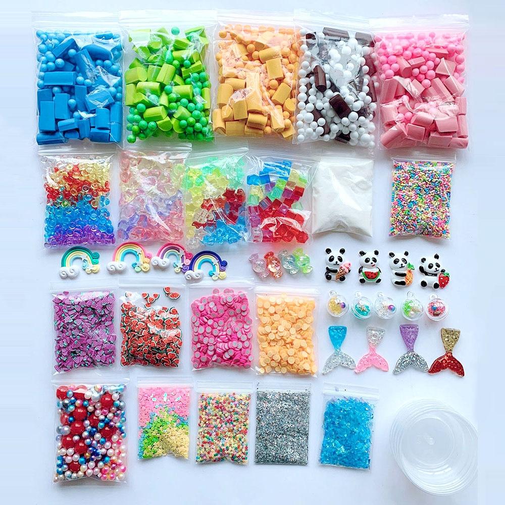 46 pacote Lodo Contas Encantos Set, Kit Suprimentos de Lodo, ferramentas para Slime Slime DIY Fazendo Artesanato Brinquedo Engraçado Caçoa o Presente de Natal das Crianças