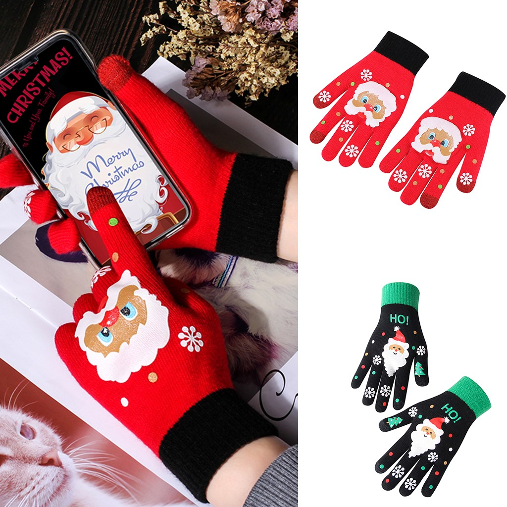 Women Cashmere wool Knitted Gloves Winter Warm thick touch screen gloves Christmas Cartoon Mittens for Mobile Phone Tablet Pad
