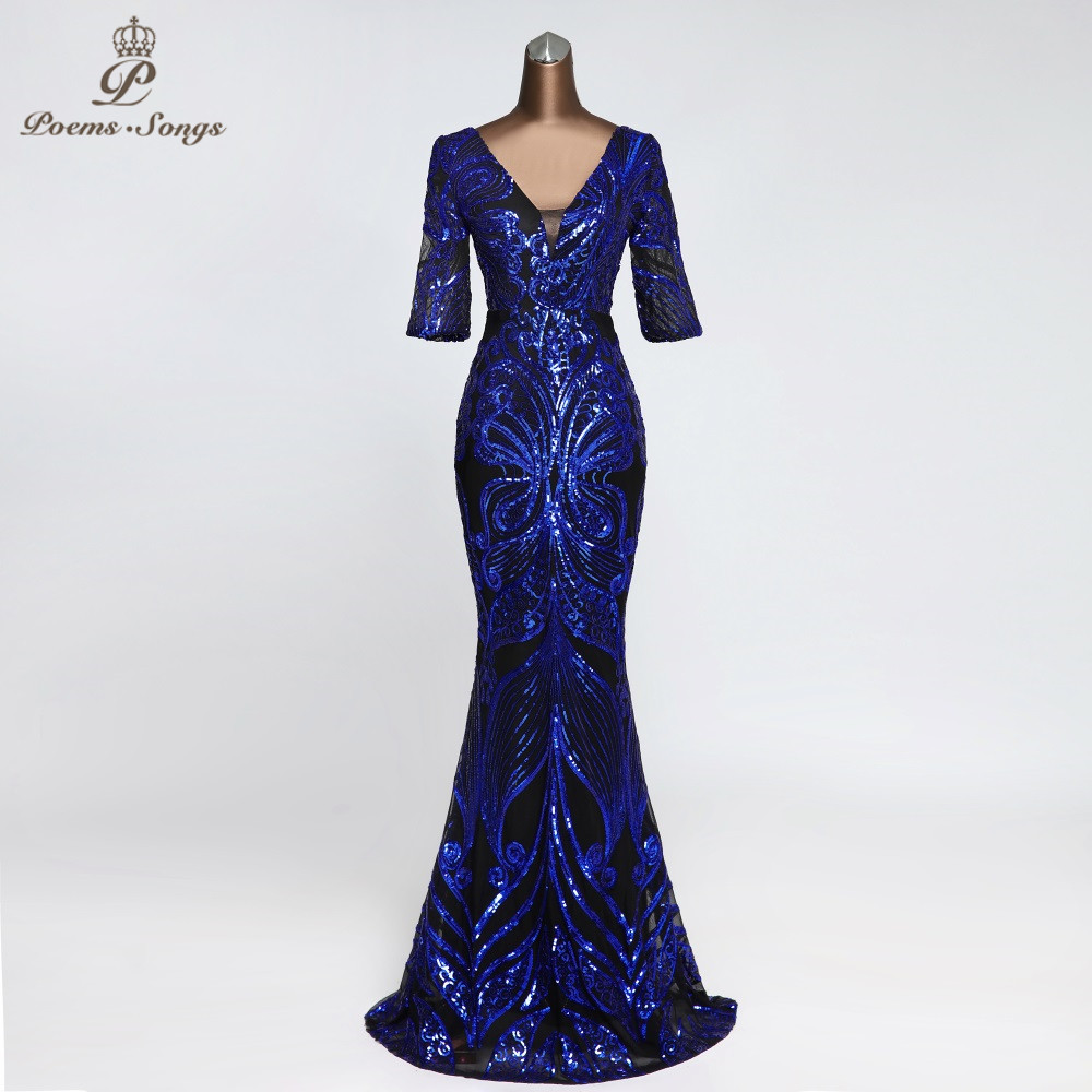 Half Sleeve Evening Dress Long Butterfly Style Evening Gown Attractive Robe De Soiree Vestidos Elegantes Memaid Vestido De Festa