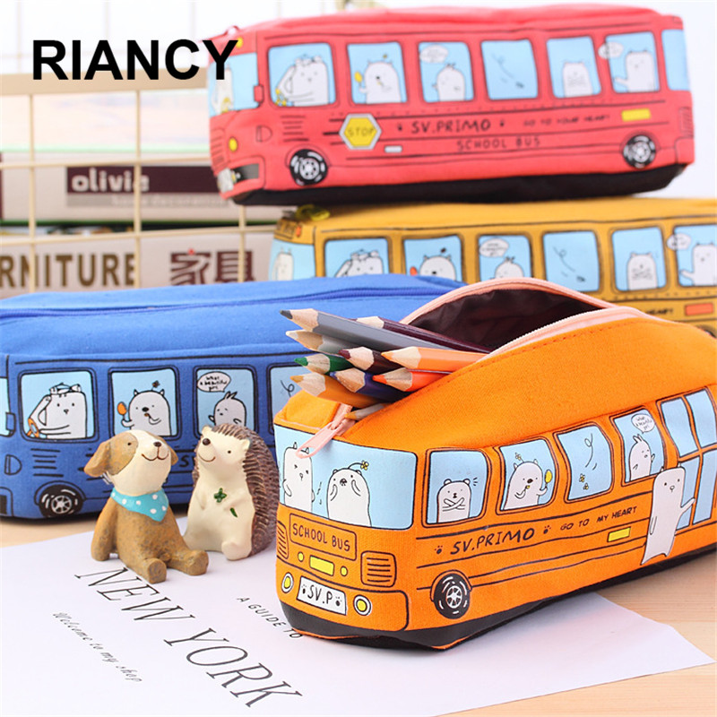 School Bus Cute School Pen Case Fabric Pencil Bag Etui A Crayons Cuir Pencil Pouch Stifte Tasche Pencil Case School Bag Pl 04972