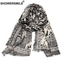 SHOWERSMILE Winter Scarf Men Leopard Print Male Scarves Black Gray Knitted Tassel High Quality Men Scarf 195cm*65cm