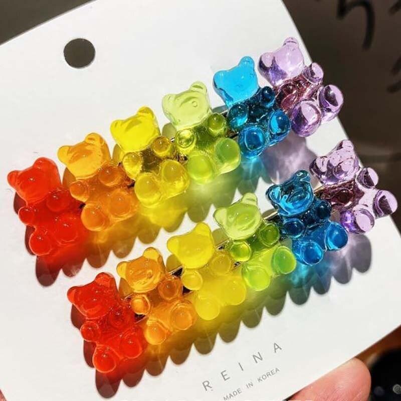6 Candy Bears Hair Clips Barrettes Colored Bear Hairpin Women Girls Hairgrips Pins Hair Band Acccessories Hair Pins 1