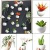 Urijk 1pc Fridge Magnets Cute Cactus Succulent Plant Magnet Button Cactus Refrigerator Message Sticker Home Decor 1
