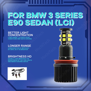 High Power Free Error 3200LM LED Marker White 240W h8 / h11 LED Angel Eyes Marker For BMW 2009-2011 3 Series E90 Sedan (LCI) image