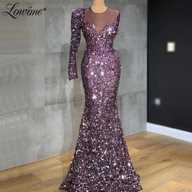 Illusion Purple Sequin Evening Dress Arabic One Shoulder Mermaid Party Gowns 2019 Custom Made Long Prom Dresses Robe De Soiree