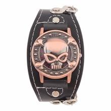 Skull Cover Quartz Watch for Men Women PU leather Wristband Bracelet Biker Metal