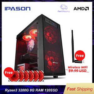 IPASON A3 mini-Gaming PC AMD Ryzen 3 2200G/3200G DDR4 4G/8G 120G SSD Desktop Computer HDMI/VGA LOL/CSGO/DOTA For Gamers Computer