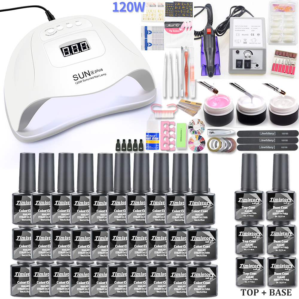 Manicure Nail Set 30PCS Gel Nail Polish Set Kit 120W UV LAMP Set Electric Nail Drill Nail Art Manicure Sets Nail Extension Kit