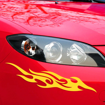 19cm*4cm 2pcs Flame Fire Car Sticker Styling Engine Hood Motorcycle Decal Decor Mural Reflective Covers Auto Car-styling image