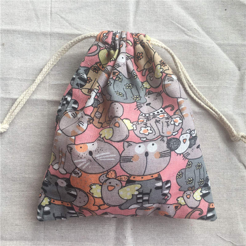 1pc Cotton Linen Drawstring Pouch Party Gift Bag Cats Pink Base YL2033c