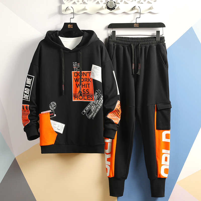 Patchwork Men's Sportswear Sets 2019 Autumn Winter Hoodies Male Casual Tracksuit Sweatshirt + Sweatpants