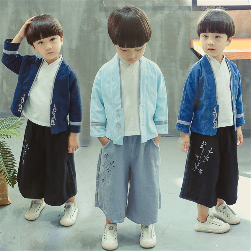 Traditional Chinese Clothing For Boys Hanfu Kids Tang Suit Long Sleeve Linen 3Pcs Shirt+Coat+Pant Festival Outfit Dance Costume