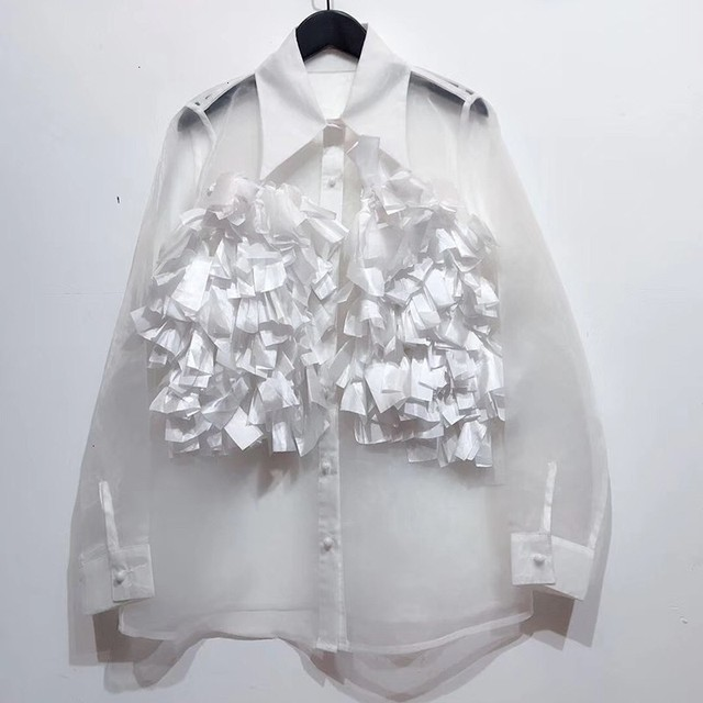 Chiffon Perspective Shirt Female Korean Style Wild Fashion Women Blouses and Tops Summer New 2020 Women Clothing F348 4