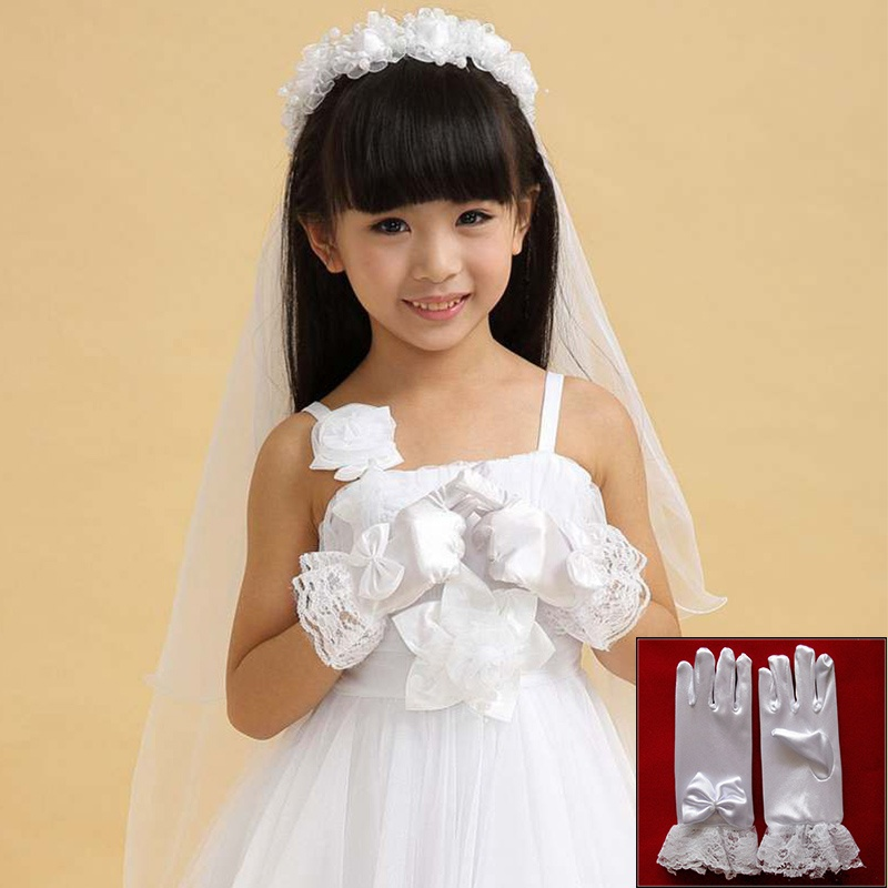 Hot Sale Fashion Style White Kids Lace Satin Full Finger Short Gloves For Lace Pearl Girl Children Party Dress Gloves #20