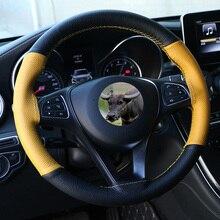 Universal couro do carro volante capa antiderrapante 38cm couro genuíno volante trança diy ponto no envoltório mão costura
