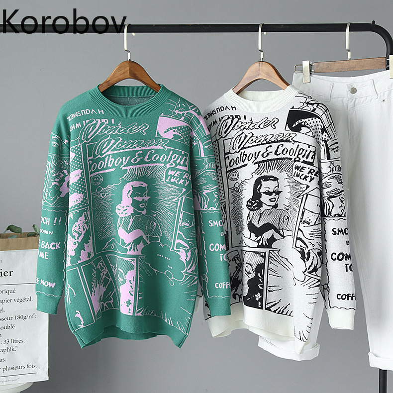 Korobov Harajuku Cartton Embroidery Pattern Women Sweaters Korean Casual O Neck Long Sleeve Pullovers Basic Sueter Mujer 79035