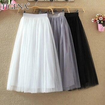 TIGENA Tulle Pleated Long Skirt Women 2021 Spring Summer Korean Fashion A Line High Waist Mesh Tutu Maxi Skirt Female Mid-length 1
