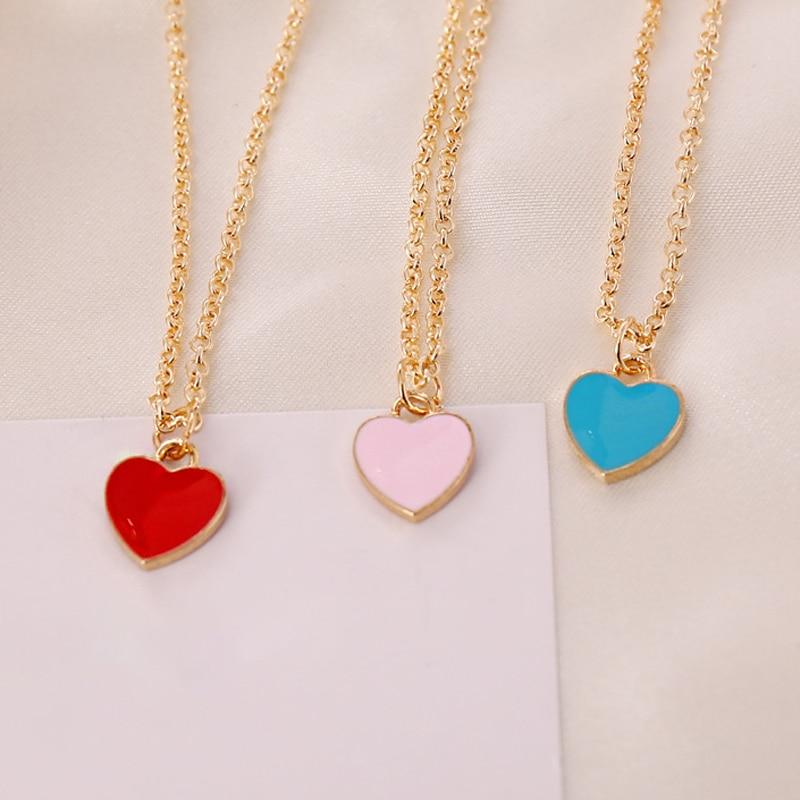 Moda vermelho rosa azul coração-em forma de pingente colar elegante feminino casamento clavícula corrente jóias romântico presentes dos namorados