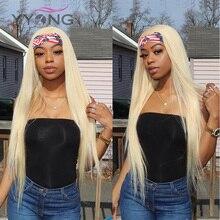 Yyong 30 인치 613 금발 머리띠 인간의 머리카락 가발 흑인 여성을위한 꿀 금발 브라질 스트레이트 레미 인간의 머리 머리띠 가발