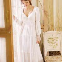 2019 Sexy Victorian Sleep Wear Night Dress Vintage Nightgown Long Sleeve Nightdress White Cotton Sleepwear Women Nightshirt